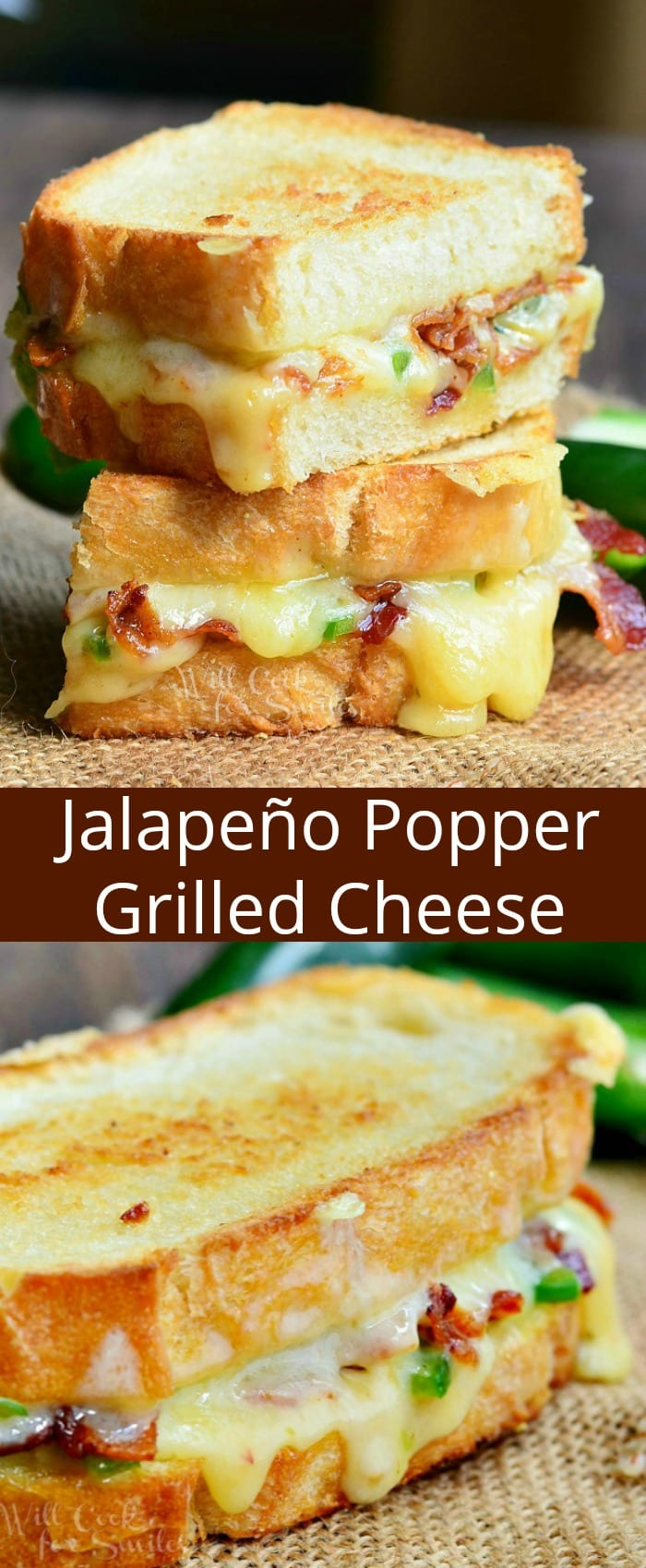 Jalapeno Popper Grilled Cheese. Amazing, ooey-gooey grilled cheese loaded with zesty cheese, jalapenos, and crispy bacon. This quick and easy sandwich will knock your sock off. #sandwich #grilledcheese #jalepenopopper #bacon #lunch #cheesy