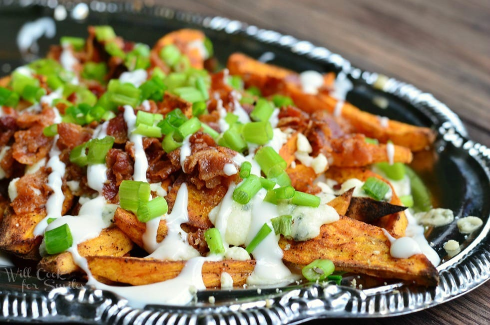 Loaded Sweet Potato Wedges 1 from willcookforsmiles.com