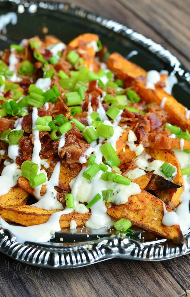 Loaded Sweet Potato Wedges from willcookforsmiles.com