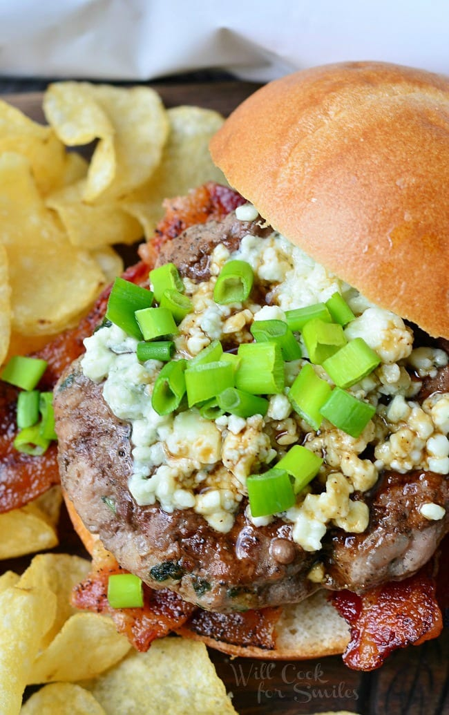Blue Cheese Bacon Burger 2 from willcookforsmiles.com ggnoads