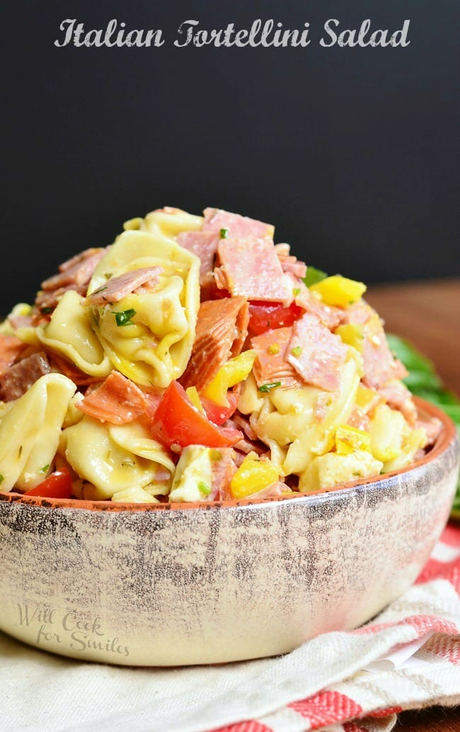 Tortellini Pasta Salad in a serving bowl