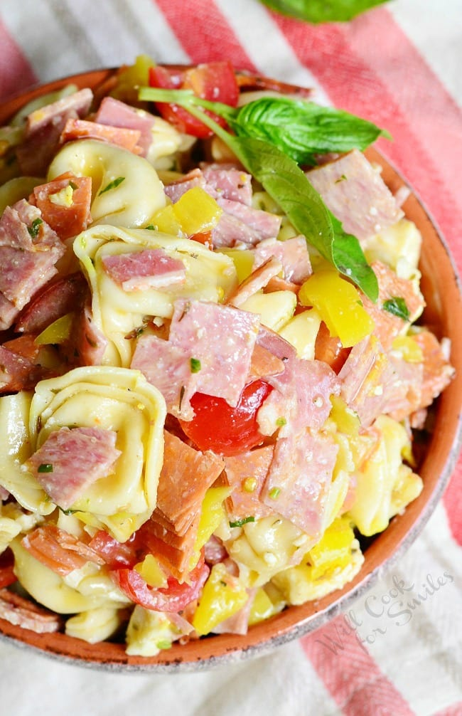 Easy Tortellini Salad in a serving bowl
