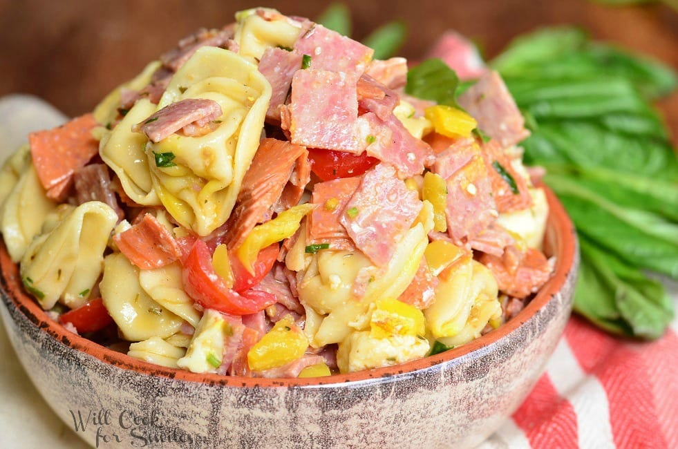 Italian Tortellini Salad in a bowl