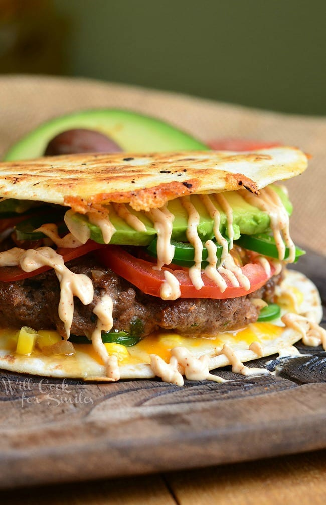 Quesadilla Burger 2 from willcookforsmiles.com