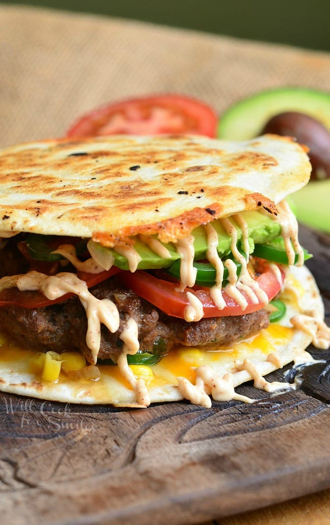 Quesadilla Burger 3 from willcookforsmiles.com