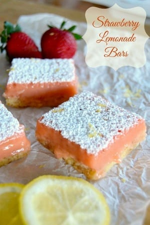 strawberry bars with powdered sugar on top