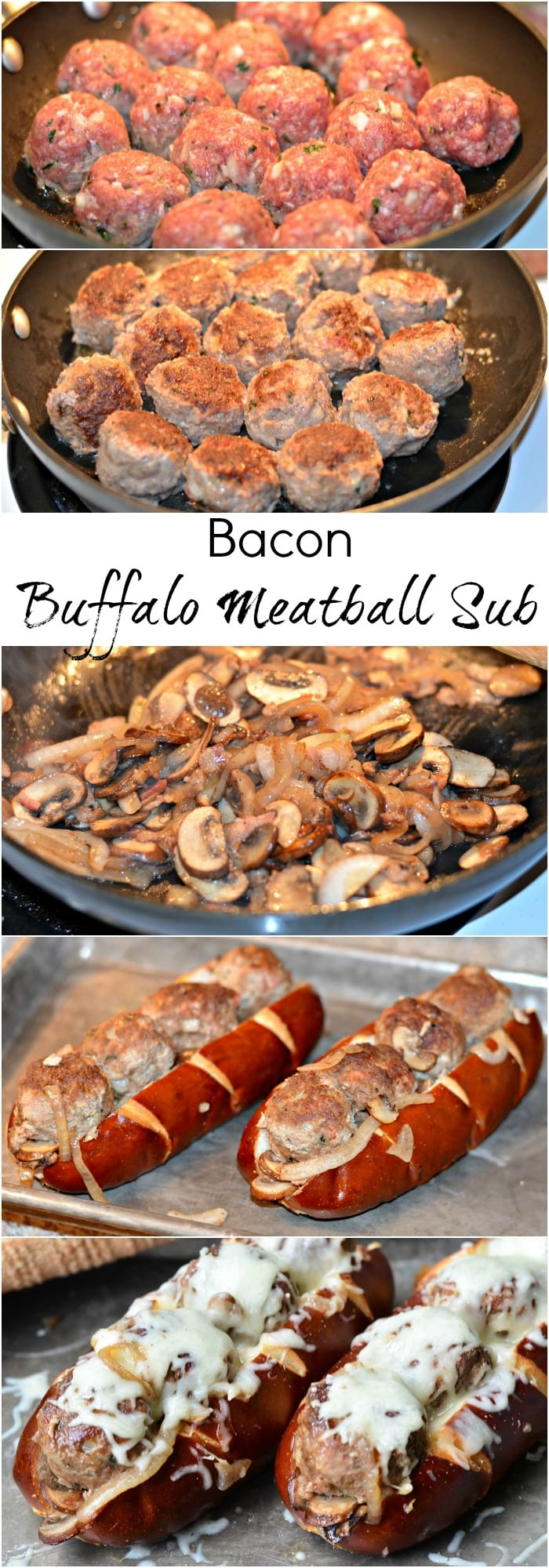 Bacon Buffalo Meatball Sub. Juicy meatballs made with buffalo meat and bacon stacked in a soft pretzel sub roll, baked with sauteed onions, mushrooms and bacon and topped with lots of mozzarella cheese. | from willcookforsmiles.com