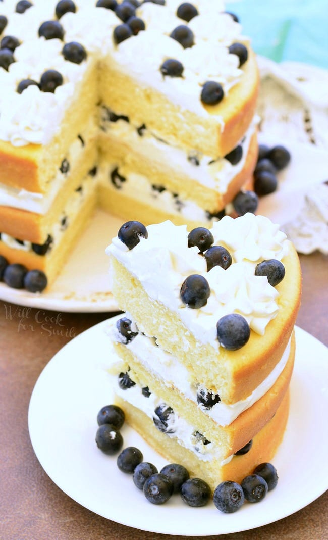 Blueberries and Cream Cake 5 from willcookforsmiles.com