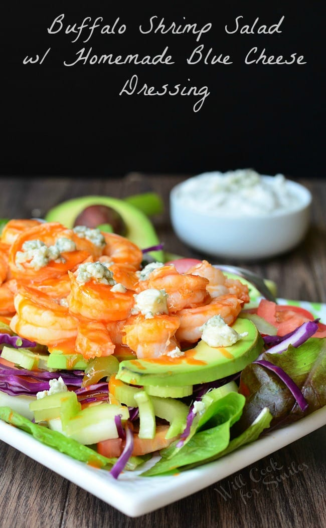 Buffalo Shrimp Salad with Homemade Blue Cheese Dressing 2 from willcookforsmiles.com