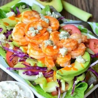 Buffalo Shrimp Salad with Homemade Blue Cheese Dressing