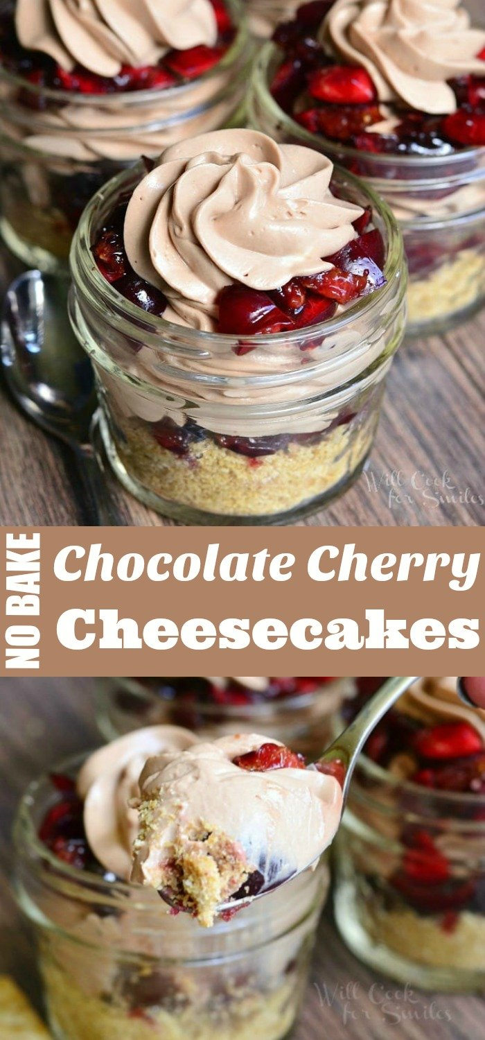 {No Bake} Chocolate Cherry Cheesecake Pie In A Jar. Smooth, creamy chocolate cherry cheesecake made with fresh cherries and crispy, sweet and salty cracker crumb on the bottom. #cheesecake #chocolate #cherry #dessert #nobake