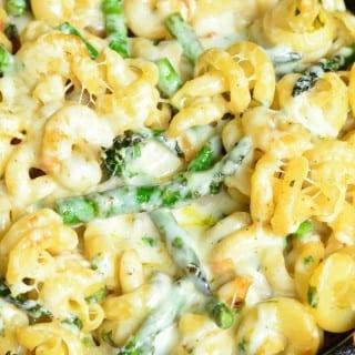 Extra Cheesy Lemon Asparagus Pasta Skillet