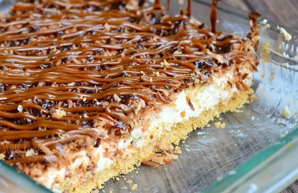 No Bake Samoas Cheesecake Bars 1 from willcookforsmiles.com