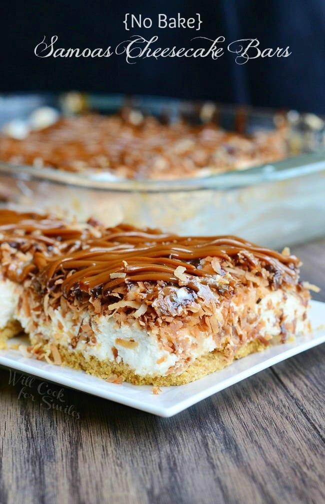 No Bake Samoas Cheesecake Bars 6 from willcookforsmiles.com