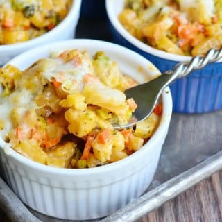 Individual Veggie Loaded Mac and Cheese Cups
