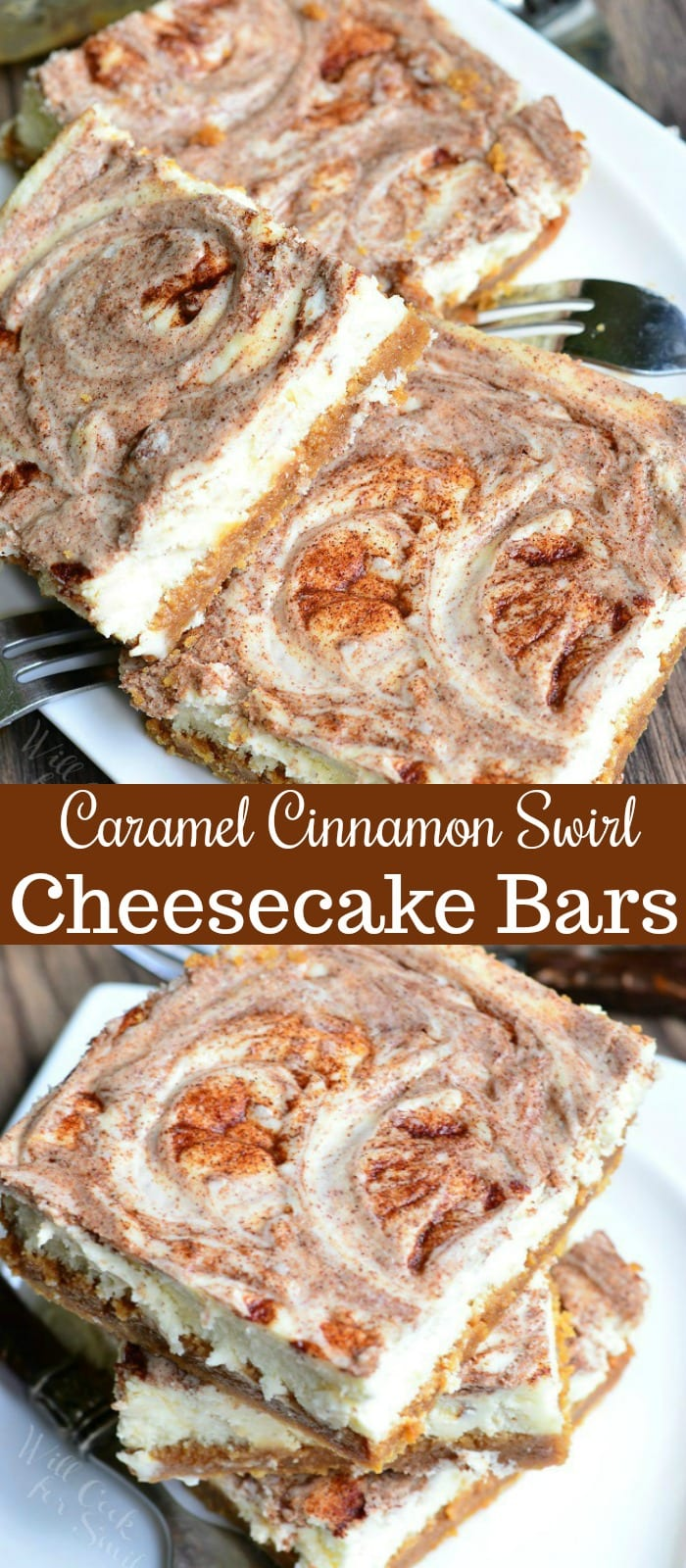 Caramel Cinnamon Swirl Cheesecake Bars Recipe. Creamy, soft cheesecake bars that are layered with dulce de leche in the middle and swirled with sugar cinnamon mixture. #cheesecake #cheesecakebars #cinnamon #caramel #cinnamonswirl