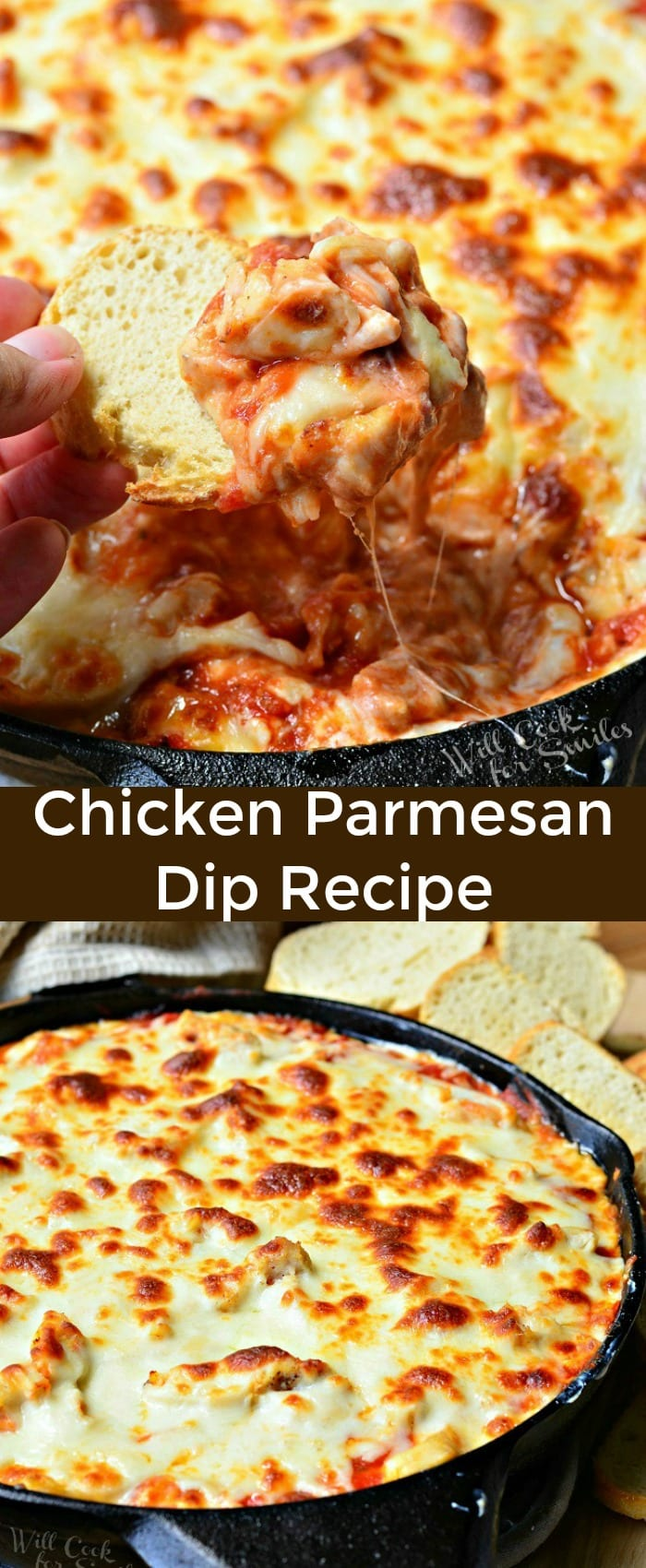 Cheesy, creamy, gooey Chicken Parmesan Dip Recipe. Layer of cheesy cream cheese and chicken mixture topped with marinara sauce, layered with chicken and more cheese. #dip #cheesy #chicken #chickenparm #parmesan #snack #appetizer