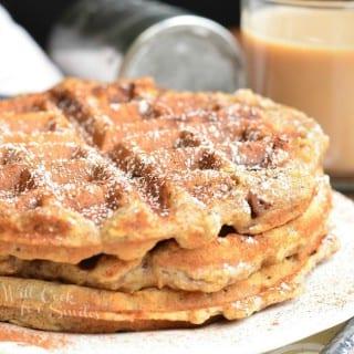 Cinnamon Peach Oat Waffles