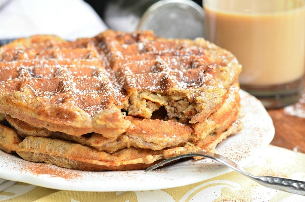 Cinnamon Peach Oat Waffles from willcookforsmiles.com