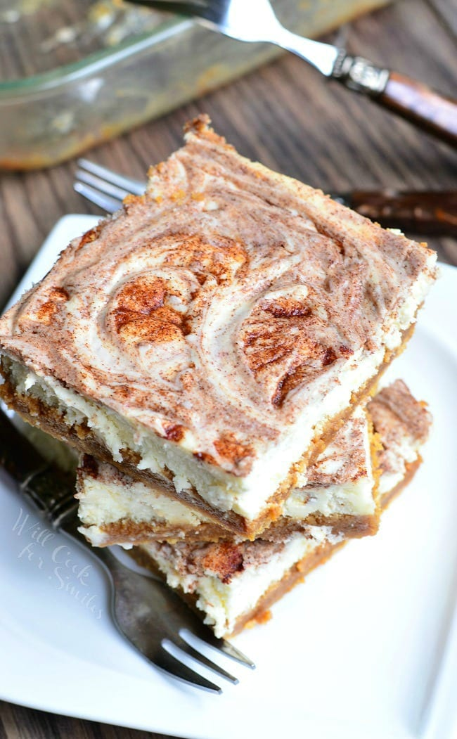 Cinnamon Swirl & Caramel Cheesecake Bars 2 from willcookforsmiles.com
