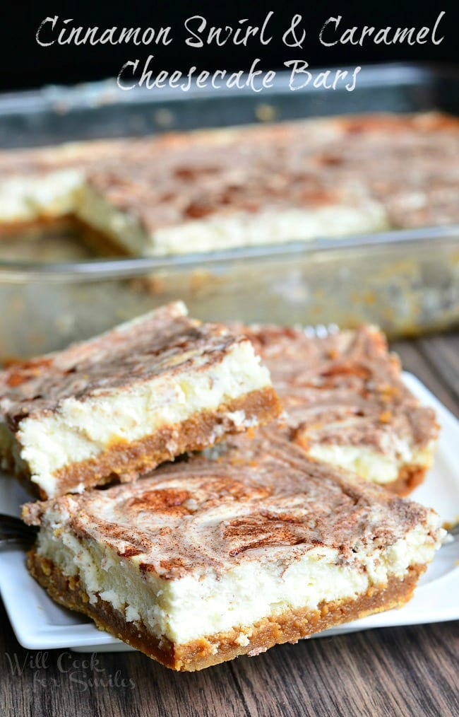 Caramel Cinnamon Swirl Cheesecake Bars. Creamy, soft cheesecake bars that are layered with dulce de leche in the middle and swirled with sugar cinnamon mixture. #cheesecake #cheesecakebars #cinnamon #caramel #cinnamonswirl