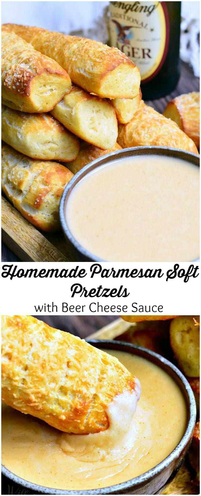 Beer Cheese Dip and Homemade Soft Pretzels. Homemade soft pretzels made with fresh grated Parmesan cheese inside and out. and paired perfectly with quick and simple beer cheese dip. #dip #cheesedip #beercheese #pretzels #snack #appetizer #gamedayfood