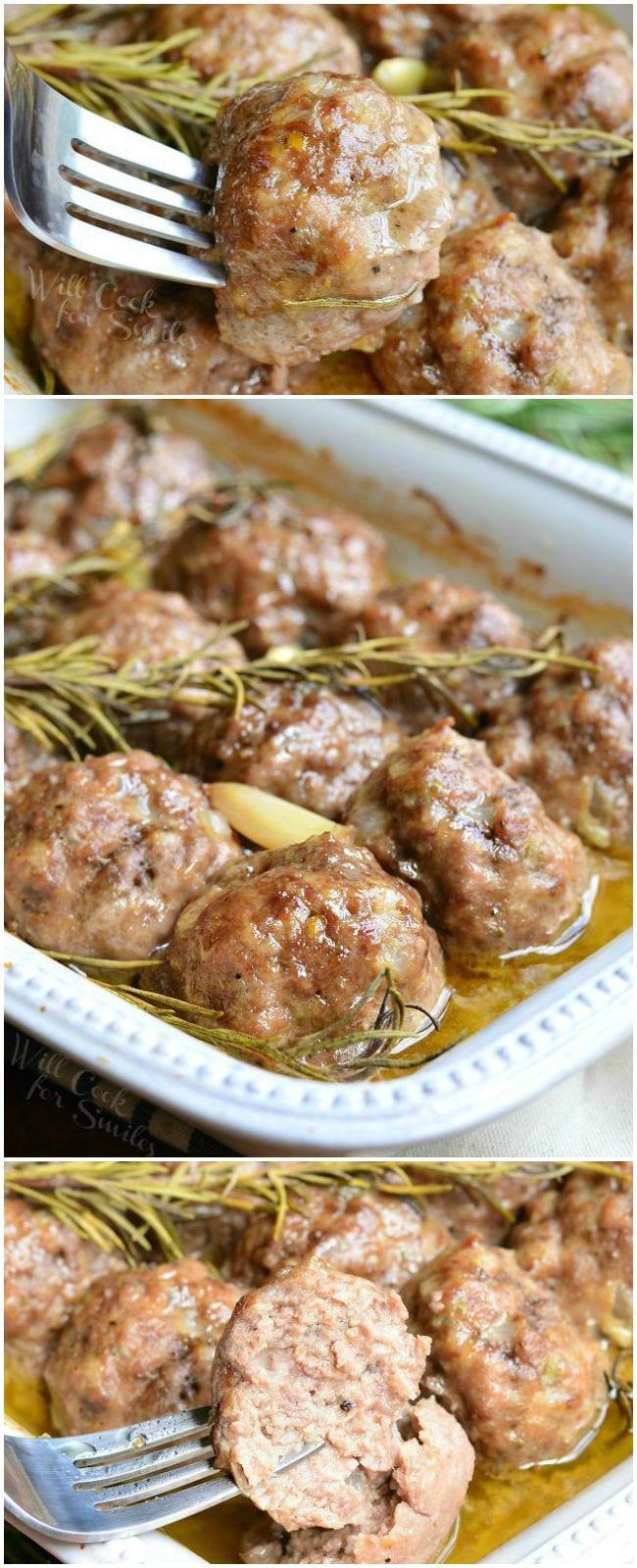 Roasted Garlic Rosemary Baked Meatballs 7 from willcookforsmiles.com