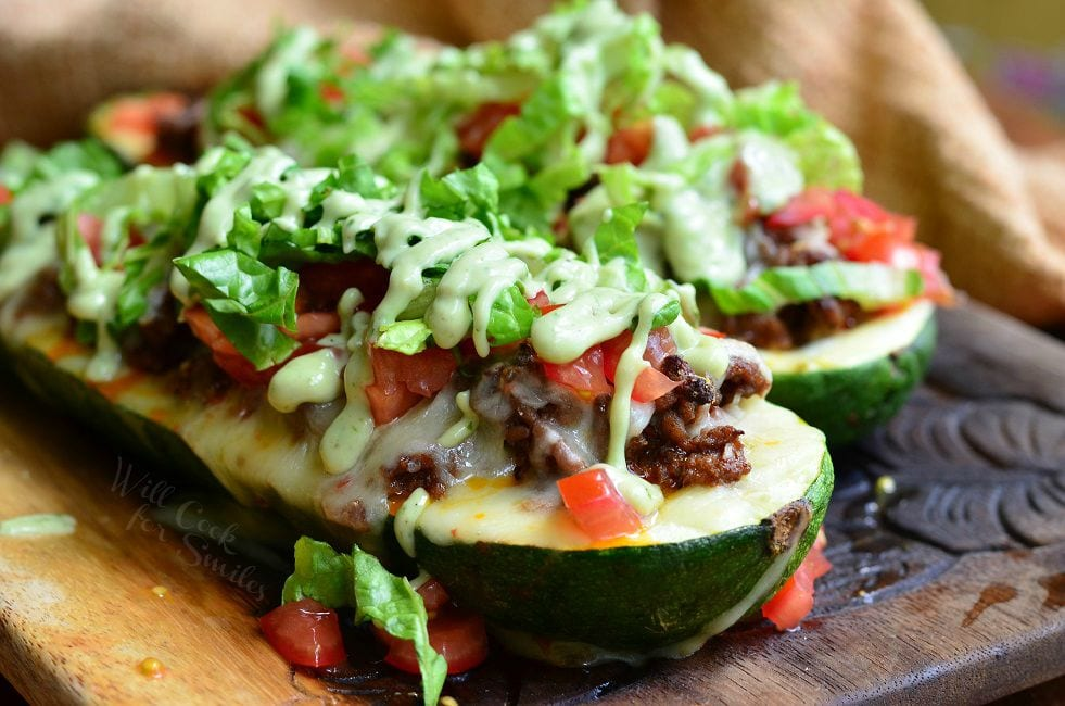 Taco Stuffed Zucchini Boats - Will Cook For Smiles