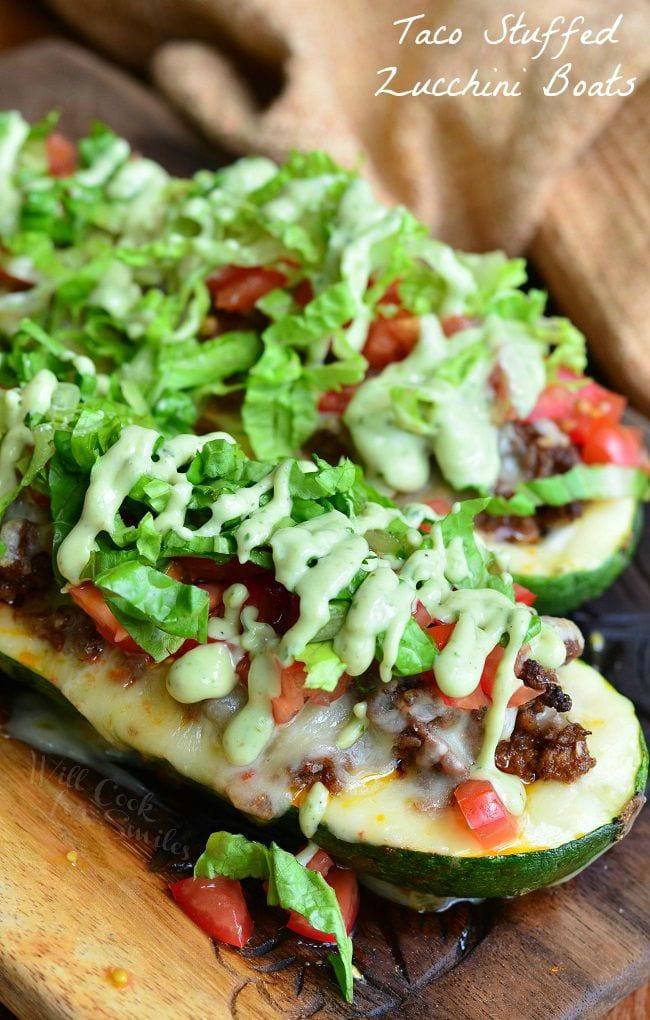 Taco Stuffed Zucchini Boats | from willcookforsmiles.com