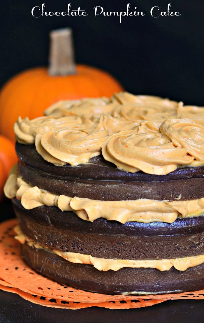 Chocolate Cake with Pumpkin Cream Cheese Frosting #cake #dessert #frosting