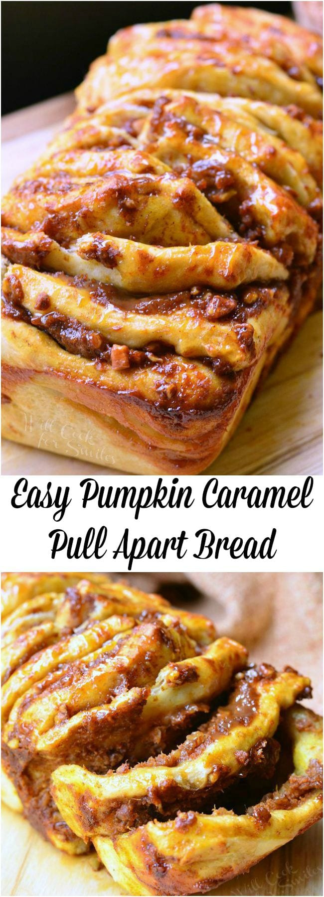 Easy Caramel Pumpkin Pull Apart Bread. Quick and easy pull apart bread where each layer is slathered in a sweet combination of pumpkin, caramel, and pecans. #pumpkin #pullapart #bread #caramel