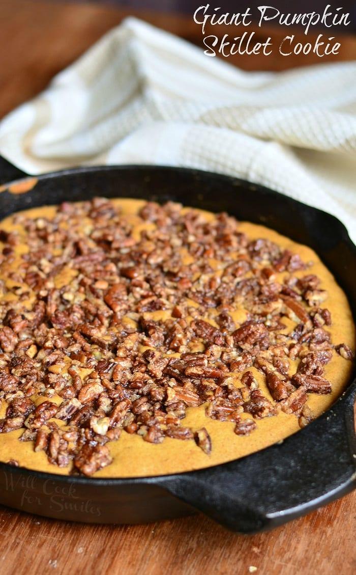 Giant Pumpkin Skillet Cookie #cookies #dessert