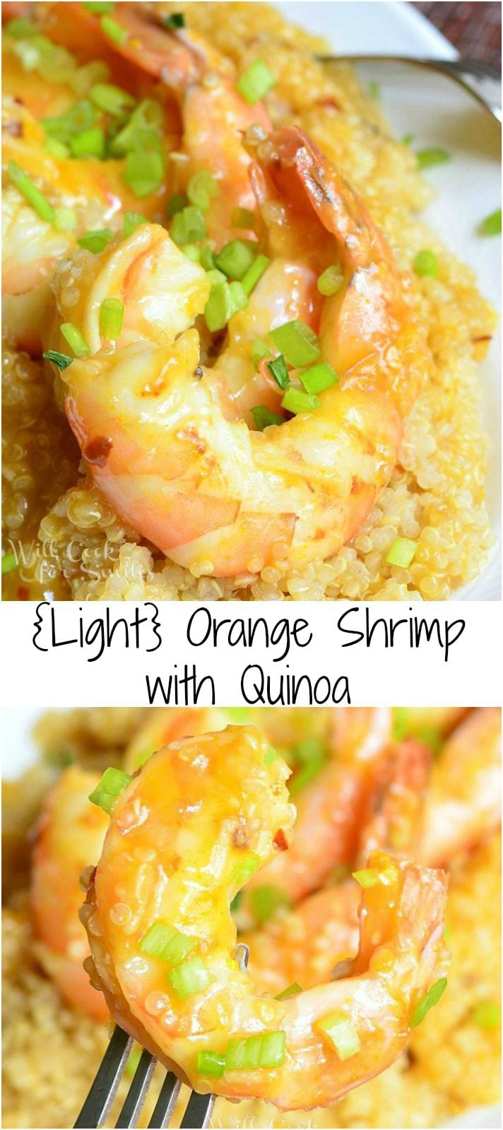 Orange Shrimp with Quinoa in a white bowl photo collage