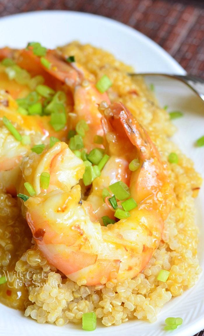 Orange Shrimp with Quinoa in a white bowl
