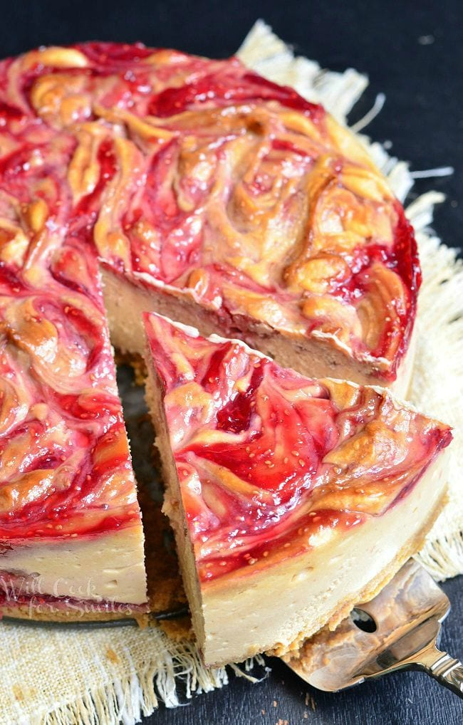 Peanut Butter and Jelly Cheesecake | from willcookforsmiles.com