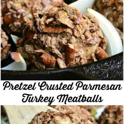2 picture collage of pretzel crusted parmesan turkey meatballs