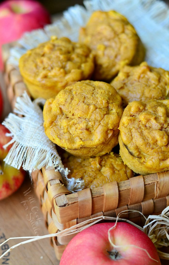 Pumpkin Apple Muffins. Soft, warm, delicious pumpkin apple muffins that are overloaded with chunks of apples. #pumpkin