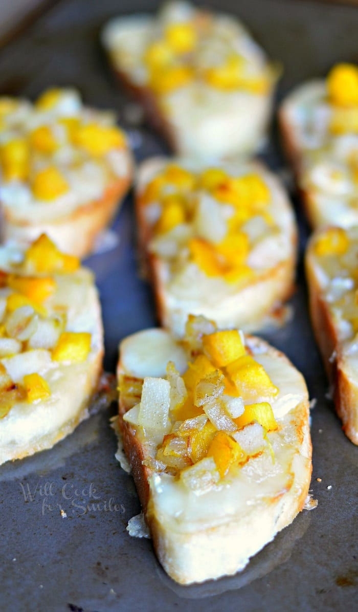 Pumpkin Pear & Brie Crostini