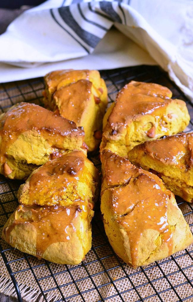 Salted Caramel Butterscotch Pumpkin Scones on a cooling rack