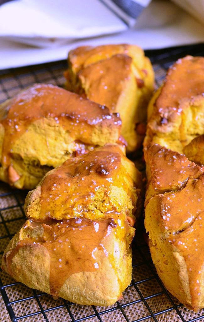 Salted Caramel Butterscotch Pumpkin Scones from willcookforsmiles.com