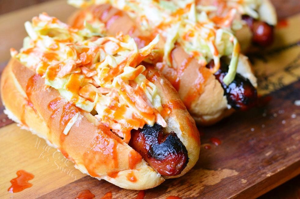 Sriracha Honey Hot Dogs 3 from willcookforsmiles.com #sriracha #grill