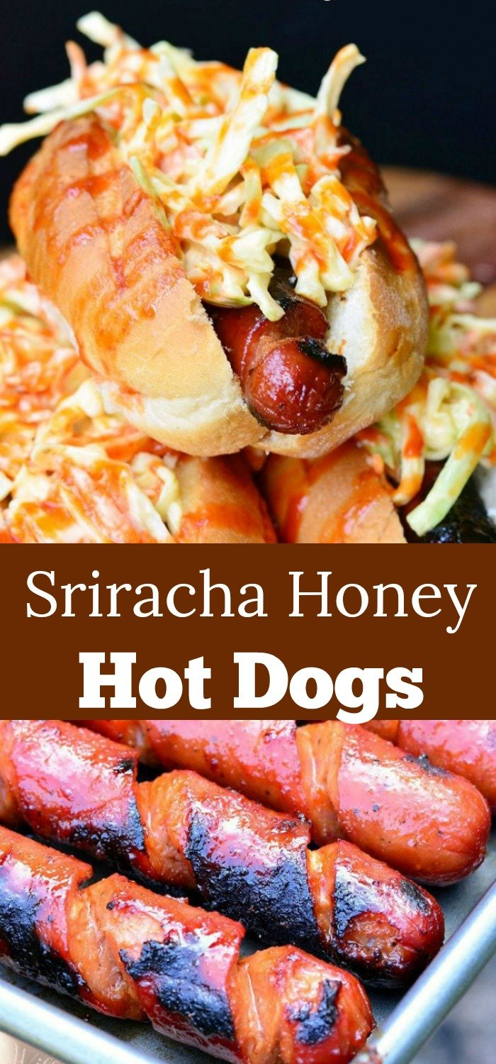 Sriracha hot dogs collage