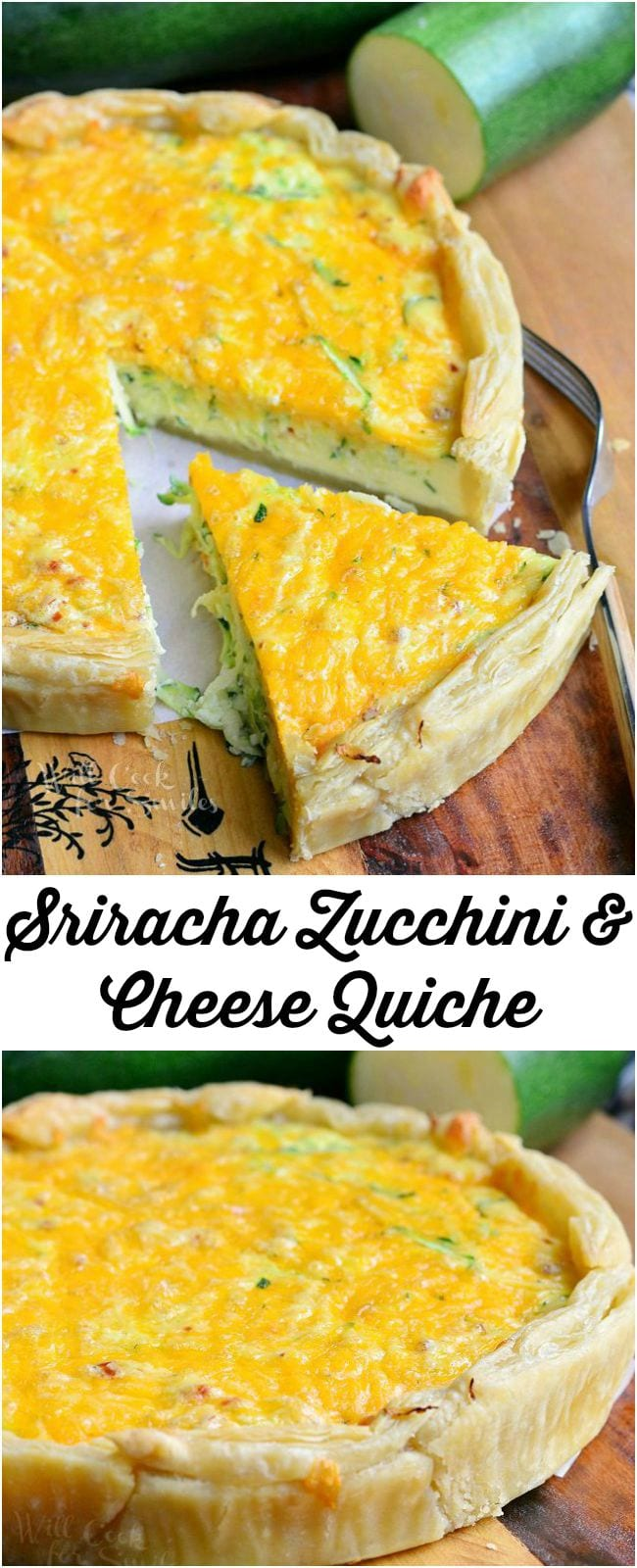 Sriracha Zucchini and Cheese Quiche || from willcookforsmiles.com