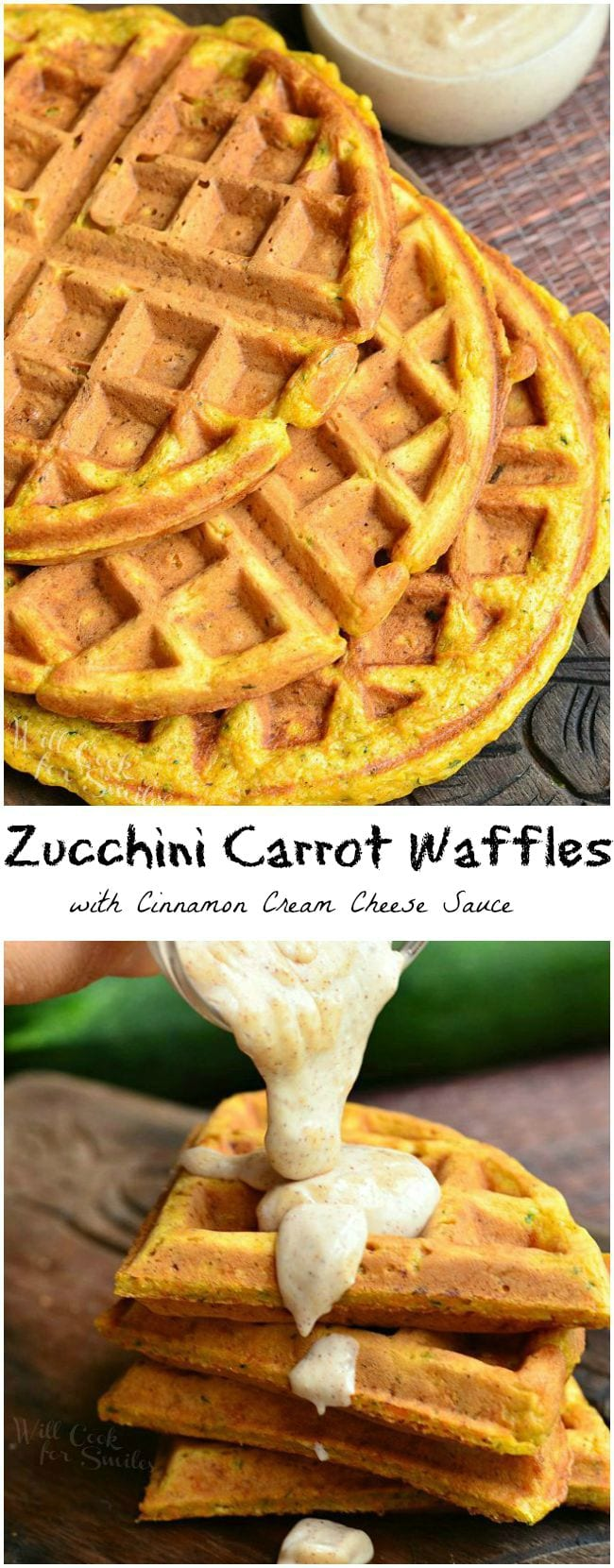 Zucchini Carrot Waffles with Cinnamon Cream Cheese Sauce