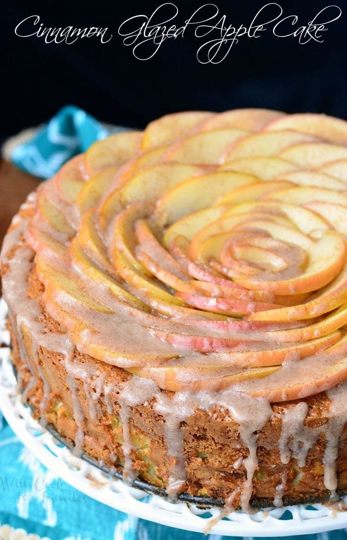 Cinnamon Glazed Apple Cake 4 from willcookforsmiles.com #apples #dessert