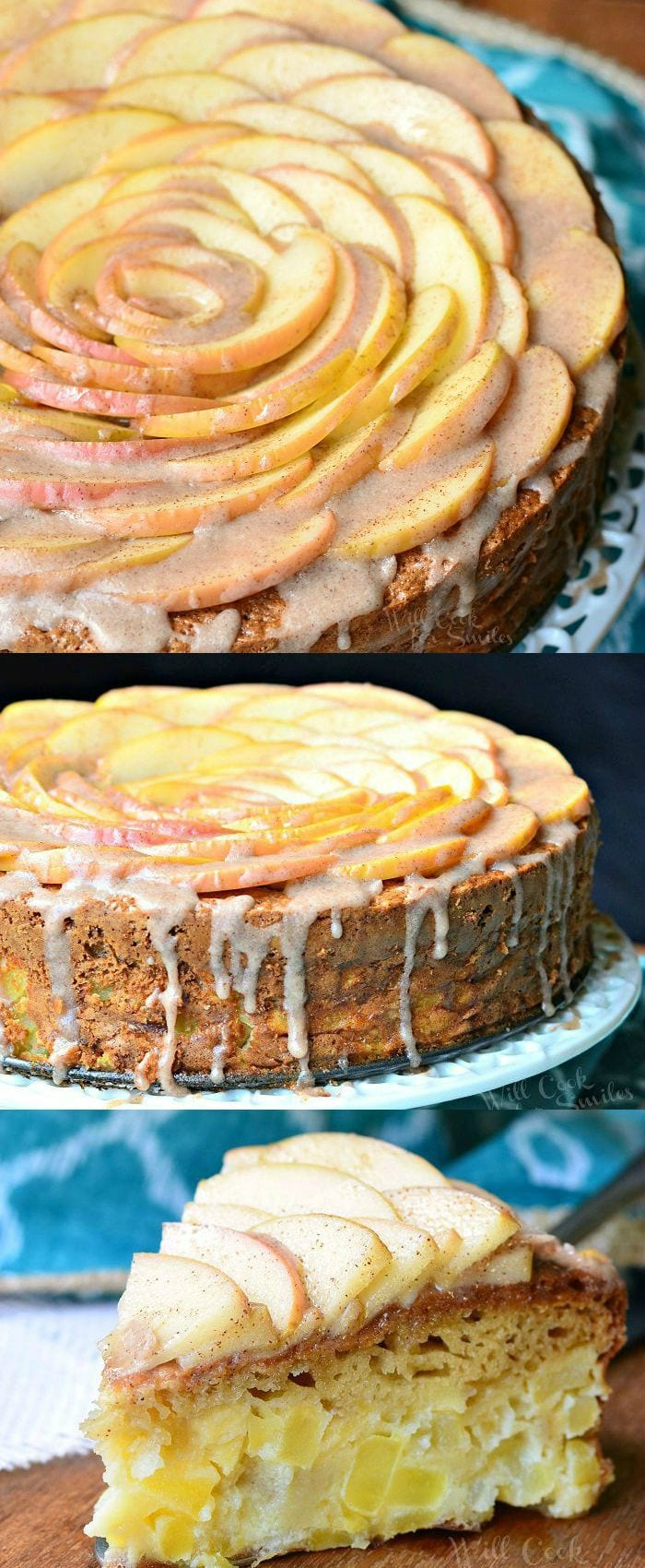 Cinnamon Glazed Apple Cake 6 from willcookforsmiles.com