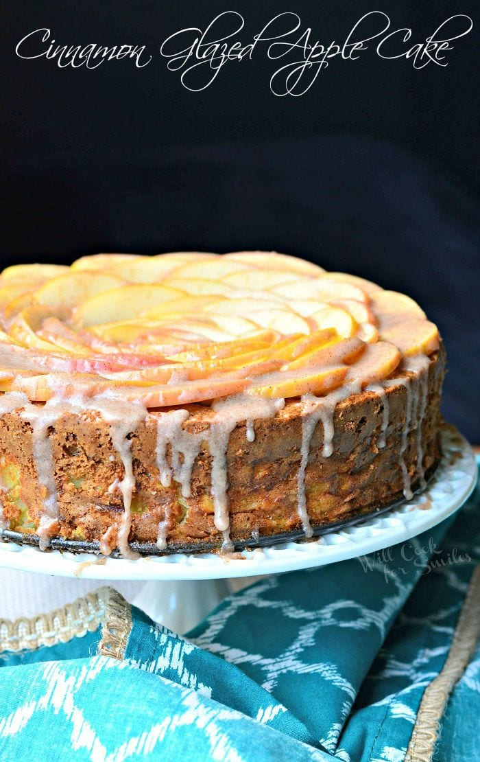 Cinnamon Glazed Apple Cake | from willcookforsmiles.com #cakes #fallrecipes