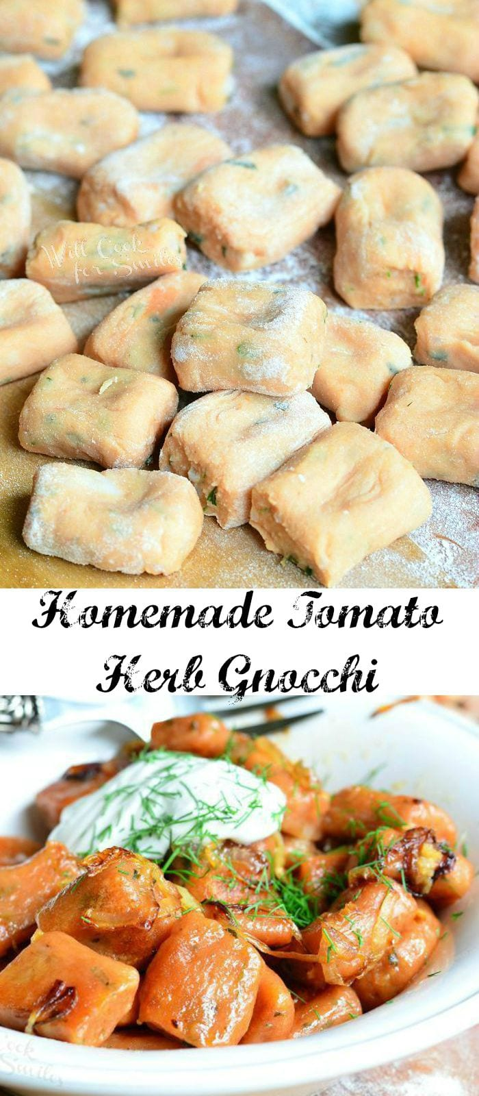 Homemade Tomato Herb Gnocchi | from willcookforsmiles.com #dinner