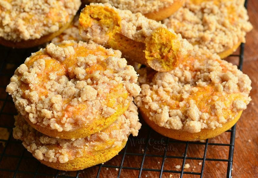 Pumpkin Carrot Cake Streusel Donuts 4 from willcookforsmiles.com #dessert