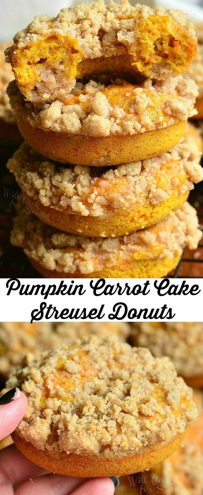 Pumpkin Carrot Cake Streusel Donuts | from willcookforsmiles.com #carrotcake #breakfast #donut